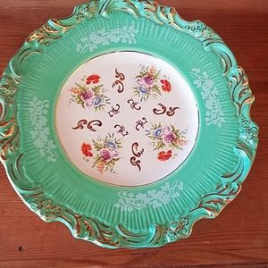 Anthropologie green and gold floral plate